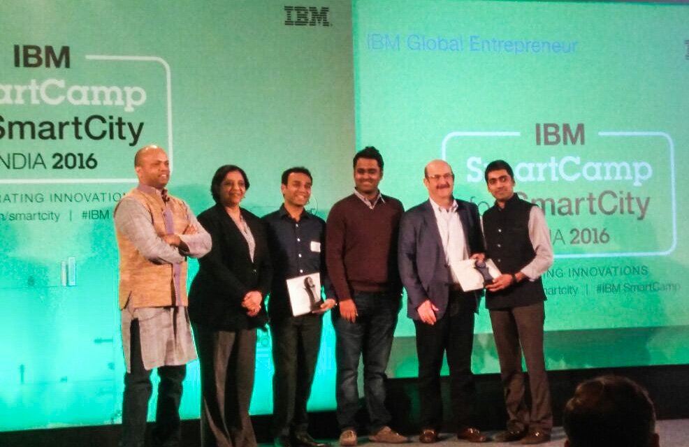 6) Get My Parking was felicitated as one of the Top 3 winners of IBM India SmartCamp 2016 out of more than 100 startups working on Smart City solutions across India