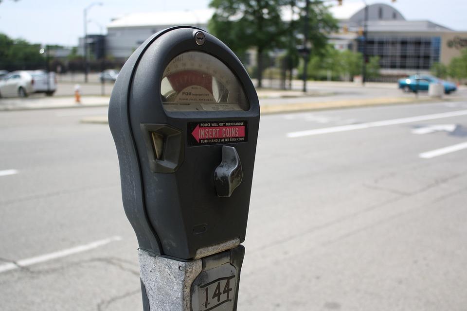 Parking meter in a parking street