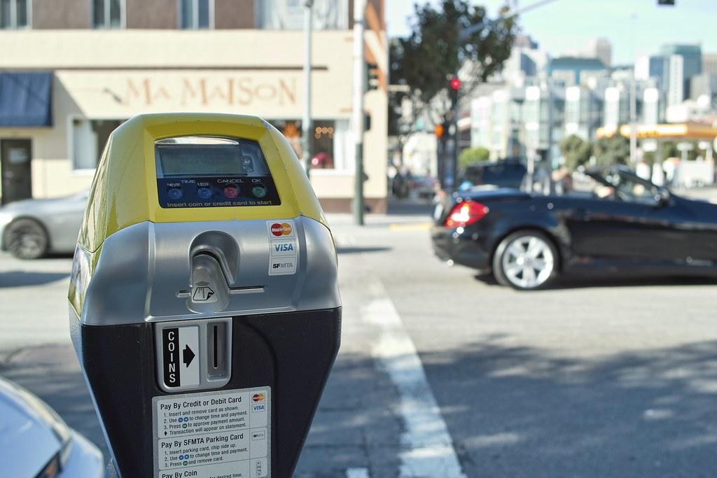 parking meter, parking lot